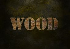 Word wood. Wooden grunge word wood on black dotted background stock photography