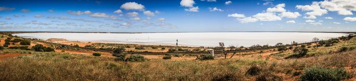 Panoramic view on the salt Lake hart, Woomera, South Australia, Australia. The word woomera is an Australian indigenous word of the Dharug language of the Eora royalty free stock image