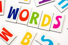 Word words made of colorful letters. On white background royalty free stock image