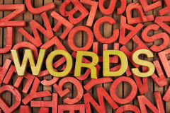 Word Words made of letters. Word Words made of green wooden block letters over the pile of red ones stock photo