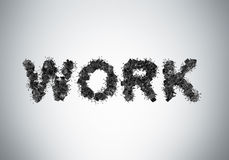 The word WORK is composed from black leather office chairs. Stock Photography