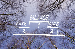 The word work-life balance against bright blue sky with trees around Royalty Free Stock Images
