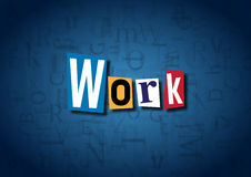 The word Work made from cutout letters. On a blue background Royalty Free Stock Photography
