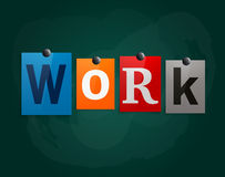 The word Work made from newspaper letters attached to a blackboard or noticeboard with magnets. Vector. Stock Photos