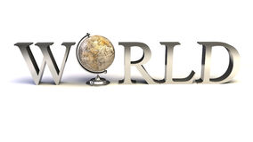 Word World with 3D globe replacing letter O vector illustration