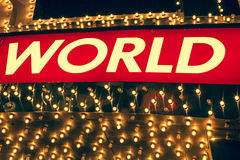 Word World on a neon back lite Royalty Free Stock Photo