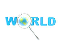 Word world under the magnifier Stock Photo