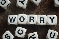 Word worry on toy cubes Stock Photos