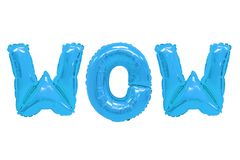 Wow blue color. Word wow in english alphabet from blue balloons on a white background. holidays and education stock image