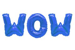 Wow dark blue color. Word wow in english alphabet from dark blue balloons on a white background. holidays and education stock photo