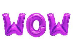 Wow purple color. Word wow in english alphabet from purple balloons on a white background. holidays and education royalty free stock photos