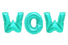 Wow turquoise color. Word wow in english alphabet from turquoise balloons on a white background. holidays and education royalty free stock photography