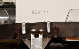 Word wow typed on old typewriter Royalty Free Stock Image