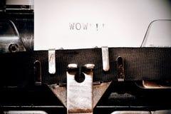 Word wow typed on old typewriter Royalty Free Stock Image