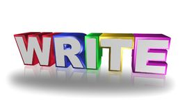 Write. The word 'write' in colorful letters on white background Stock Photo