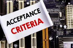 Word, writing Acceptance Criteria. Business concept for Digital Criterion Written on sticky note, computer main board background. Word, writing Acceptance Royalty Free Stock Photography