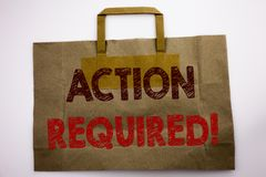 Word, writing Action Required. Business concept for Immediate Urgent Written on shopping bag, white isolated background. Word, writing Action Required. Business Stock Photography