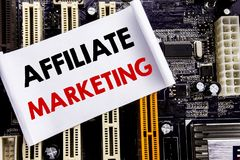 Word, writing Affiliate Marketing. Business concept for Internet Online Written on sticky note, computer main board background. Word, writing Affiliate Stock Image