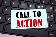 Word, writing Call To Action. Business concept for Proactive Success Goal written on sticky note paper on the black keyboard backg. Word, writing Call To Action Royalty Free Stock Photo