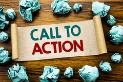 Word, writing Call To Action. Business concept for Proactive Success Goal Written on sticky note paper, wooden background with fol. Word, writing Call To Action Stock Images
