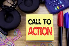 Word, writing Call To Action. Business concept for Proactive Success Goal written on sticky note paper on the wooden background. W. Word, writing Call To Action Royalty Free Stock Photo