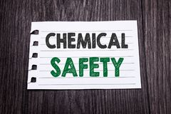 Word, writing Chemical Safety. Business concept for Hazard Health At Work written on sticky note paper on the dark wooden backgrou. Word, writing Chemical Safety Royalty Free Stock Image