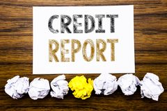 Word, writing Credit Report. Concept for Finance Score Check Written on sticky note paper reminder, wooden background with sticky,. Word, writing Credit Report Stock Images