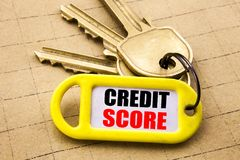 Word, writing Credit Score. Business concept for Financial Rating Record Written on key holder, textured background close up. Word, writing Credit Score royalty free stock image