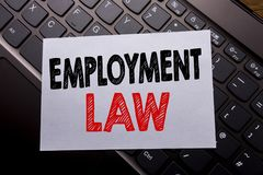 Word, writing Employment Law. Business concept for Employee Legal Justice written on sticky note paper on the dark keyboard backgr. Word, writing Employment Law Stock Photos