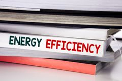 Word, writing Energy Efficiency. Business concept for Electricity Ecology written on the book on the white background. Word, writing Energy Efficiency. Business royalty free stock images