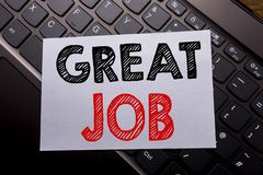 Word, writing Great Job. Business concept for Success Appreciation written on sticky note paper on the dark keyboard background. Word, writing Great Job royalty free stock photo
