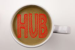 Word, writing HUB text in coffee in cup. Business concept for HUB Advertisement on white background with copy space. Black text wi. Word, writing HUB text in Stock Photos