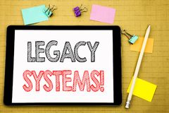 Word, writing Legacy Systems. Business concept for Upgrade SOA Application Written on tablet laptop, wooden background with sticky. Word, writing Legacy Systems Royalty Free Stock Photography