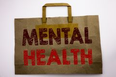 Word, writing Mental Health. Business concept for Anxiety Illness Disorder Written on shopping bag, white isolated background. Word, writing Mental Health royalty free stock photography