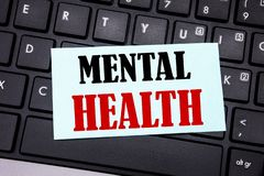 Word, writing Mental Health. Business concept for Anxiety Illness Disorder written on sticky note paper on the black keyboard back. Word, writing Mental Health stock image