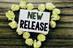 Word, writing New Release . Business concept for Technology Software Update written on sticky note paper on the wooden background. Word, writing New Release royalty free stock images
