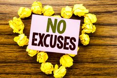 Word, writing No Excuses. Business concept for Stop Ban for Excuse written on sticky note paper on the wooden background. Word, writing No Excuses. Business Royalty Free Stock Photos