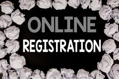 Word, writing Online Registration. Business concept for Internet Login written on black background with copy space on old backgrou. Word, writing Online royalty free stock photography