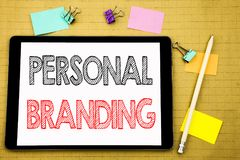 Word, writing Personal Branding. Business concept for Brand Building Written on tablet laptop, wooden background with sticky note. Word, writing Personal royalty free stock photography