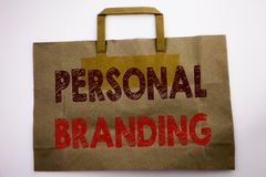 Word, writing Personal Branding. Business concept for Brand Building Written on shopping bag, white background. Word, writing Personal Branding. Business royalty free stock image