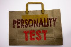 Word, writing Personality Test. Business concept for Attitude Assessment Written on shopping bag, white background. Word, writing Personality Test. Business royalty free stock image