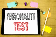 Word, writing Personality Test. Business concept for Attitude Assessment Written on tablet laptop, wooden background with sticky n. Word, writing Personality royalty free stock photography