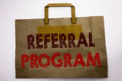 Word, writing Referral Program. Business concept for Refer Marketing Written on shopping bag, white background. Word, writing Referral Program. Business concept stock photography