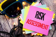 Word, writing Risk Assessment. Business concept for Safety Danger Analyze written on sticky note with copy space on old wood woode. Word, writing Risk Assessment royalty free stock images