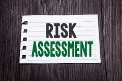 Word, writing Risk Assessment. Business concept for Safety Danger Analyze written on sticky note paper on the dark wooden backgrou. Word, writing Risk Assessment stock photos