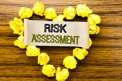 Word, writing Risk Assessment. Business concept for Safety Danger Analyze written on sticky note paper on the dark wooden backgrou. Word, writing Risk Assessment Royalty Free Stock Image