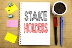 Word, writing Stake Holders. Business concept for Stakeholder Engagement Written on notepad note paper background with space offic. Word, writing Stake Holders royalty free stock photos