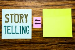 Word, writing Storytelling. Business concept for Teller Story Message written on sticky note paper on wooden background. Equation. Word, writing Storytelling Stock Image
