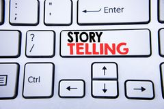 Word, writing Storytelling. Business concept for Teller Story Message written on white keyboard key with copy space. Top view. Word, writing Storytelling Stock Image