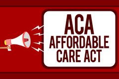 Word writing text Aca Affordable Care Act. Business concept for providing cheap treatment to patient several places Man holding me. Gaphone loudspeaker speech Stock Photography
